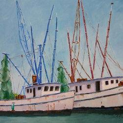 Roweboat Art Inc - Shrimp Boats, Fine Art Reproductions, 20X16 - Original art reproduction