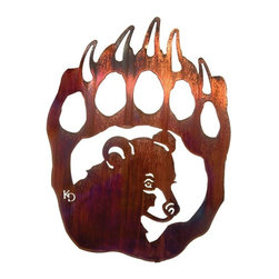 Lazart - Rustic Bear Cub & Paw Metal Wall Art - Now  this  is  a  rustic  metal  wall  art  bear  you  just  can't  resist.  An  adorable  head  pose  of  a  cute  little  bear  cub  is  superimposed  over  the  bear  paw  image  for  a  powerful,  yet  charming  metal  wall  art  your  guests  will  love.  The  Honey  Pinion  finish  has  been  heat  bonded  to  the  precision  cut  steel  for  a  deep,  shiny  surface  with  a  golden  glow  in  the  light.  Warm  up  the  rustic  decor  in  your  home  with  this  enchanting  bear  cub  portrait.  It's  rustic  metal  wall  art  sure  to  catch  the  eye  and  spark  some  lively  conversation.                 Click  for  more  wildlife  metal  wall  decor.                  Measures  16  inches  wide              Cute  cub  paired  with  powerful  paw              Honey  Pinion  finish  brings  out  golden  glow  and  warm  browns              Laser  cut  precision  with  a  special  heat  transfer  finishing  process              Made  in  the  USA