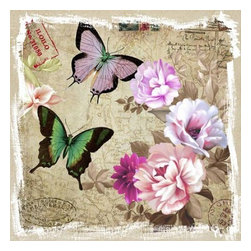 YOSEMITE HOME DECOR - Butterflies and Flowers II - Colorful butterflies printed in lavender, green and black float next to flowers in varied hues of pink on an aged linen canvas. A background featuring vintage postal stamps, and script is beautifully rendered on an old world map.