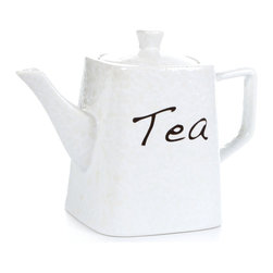 """Concepts Life - Concepts Life Teapot  Subtle Scripts - Simple and clean, this white Subtle Scripts Teapot offers a beautiiful way to serve tea (or coffee) in your kitchen. Elegant enough for a special occasion, but durable enough for daily use. Part of the Concepts Life Subtle Scripts Collection; dress your table in this happy and elegant style!  Teapot is crafted from 100% high-quality stoneware Baked and glazed at high temperatures for extra durability Dishwasher safe Dimensions: 6""""w x 8""""h x 4""""d Weight: 1.5 lbs"""