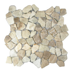 """CNK Tile - Glazed Mixed Quartz Mosaic Tile - Each pebble is carefully selected and hand-sorted according to color, size and shape in order to ensure the highest quality pebble tile available.  The stones are attached to a sturdy mesh backing using non-toxic, environmentally safe glue.  Because of the unique pattern in which our tile is created they fit together seamlessly when installed so you can't tell where one tile ends and the next begins!     Usage:    Shower floor, bathroom floor, general flooring, backsplashes, swimming pools, patios, fireplaces and more.  Interior & exterior. Commercial & residential.     Details:    Sheet Backing: Mesh   Sheet Dimensions: 12"""" x 12""""   Pebble size: Approx 3/4"""" to 2 1/2""""   Thickness: Approx 3/8""""   Finish: Glazed Quartz"""