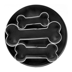"Fox Run 3 Piece Dog Bone Cookie Cutters - This 3 piece Dog Bone Cookie Cutter Set is constructed of high quality tin plated steel.  Sure to last for years to come  this set includes 3 dog bone shaped cookie cutters ranging from 2"" - 3.5"".  Includes nicely designed storage tin. Product Features                                   Includes 3 cookie cutters            Includes storage tin            Cutters measure 2"" - 3.5"""