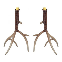 Joshua Marshal - Hope Valley-Set Of 2 Antler Candle Holder - Hope Valley-Set Of 2 Antler Candle Holder