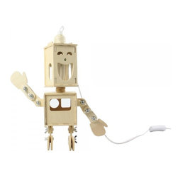 ParrotUncle - Double-Face Robot Wooden Desk Lamp - Sometimes laugh, sometimes angry, this adorable double face robot desk lamp has different facial expressions depending on your mood. Each joint of his body allows him to post many different gestures to make you feel fun and joyful. A perfect lighting fixture that blends form and function together.