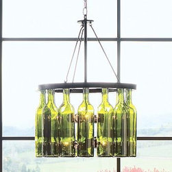 "Wine Bottle 4-light Chandelier, Rasped Iron finish - Authentic green-glass wine bottles lend artistic impact to our striking Wine Bottle Chandelier. It has a rasped finish that gives each individual chandelier rich texture and one-of-a-kind detail.18"" diameter, 33"" high; 6' chainCrafted of iron and repurposed wine bottles with cork stoppers.Hardwire; professional installation recommended.UL-listed.Simple assembly.Catalog / Internet Only."