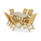 Westminster Teak Furniture - Barbuda 7pc Teak Folding Table and Chairs - Combining excellence in craftsmanship, uncompromising quality and inspired design in all of our teak folding furniture, the Barbuda Rectangular Folding Teak Table, Barbuda Folding Teak chair Set shows just this. This Teak furniture set, comes with 6 Barbuda Teak Folding Chairs and 1 Barbuda Teak Folding Table.