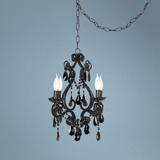 Black Glass Swag Style 4-Light Chandelier | LampsPlus.com