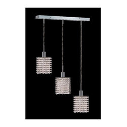 Elegant Lighting - Mini Clear Crystal Pendant w 3 Lights in Chrome (Royal Cut) - Choose Crystal: Royal Cut. 3 ft. Chain/Wire Included. Bulbs not included. Crystal Color: Crystal (Clear). Chrome finish. Number of Bulbs: 3. Bulb Type: GU10. Bulb Wattage: 55. Max Wattage: 165. Voltage: 110V-125V. Assembly required. Meets UL & ULC Standards: Yes. 14.5 in. D x 8 to 48 in. H (8lbs.)Description of Crystal trim:Royal Cut, a combination of high quality lead free machine cut and machine polished crystals & full-lead machined-cut crystals..SPECTRA Swarovski, this breed of crystal offers maximum optical quality and radiance. Machined cut and polished, a Swarovski technician¢s strict production demands are applied to this lead free, high quality crystal.Strass Swarovski is an exercise in technical perfection, Swarovski ELEMENTS crystal meets all standards of perfection. It is original, flawless and brilliant, possessing lead oxide in excess of 39%. Made in Austria, each facet is perfectly cut and polished by machine to maintain optical purity and consistency. An invisible coating is applied at the end of the process to make the crystal easier to clean. While available in clear it can be specially ordered in a variety of colors.Not all trims are available on all models.