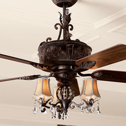 "Horchow - Antoinette Fan - Designed with a 54""Dia. blade sweep with a 14""pitch for maximum air movement, this ceiling fan is hand-painted with an antiqued verdigris finish. The light kit sparkles with faceted crystal drops and is finished with silk shades; uses three 40-watt bulbs. Hardware and ceiling canopy included. M"