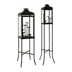 """IMAX CORPORATION - CKI Peninsula Lanterns - Set of 2 - CKI Peninsula Lanterns - Set of 2.  Set of 2 lanterns measuring 53.25""""H x 12.75""""W x 12.75""""L and 63""""H x 13.75""""W x 13.75""""L each. Find home furnishings, decor, and accessories from Posh Urban Furnishings. Beautiful, stylish furniture and decor that will brighten your home instantly. Shop modern, traditional, vintage, and world designs."""