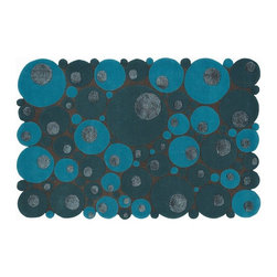 EcoFirstArt - Bubbles Blue Rug - Think outside the rectangle with this round-edged rug, made up of myriad circular pieces of wool. This multi-leveled, textured rug