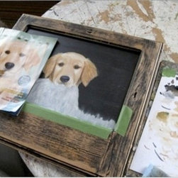 Painting Of Cute Golden Retriever Puppy - Made by http://www.ecustomfinishes.com