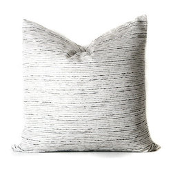 Grandiflora Home + Decor - Glisten Square Cushion Cover - Black and white tweed with light champagne gold woven throughout creates subtle and neutral texture that mixes well with other patterns.