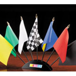 BSI Products, Inc. - NASCAR Logo NASCAR 7-piece Racing Flag Set - This AWESOME 7-piece flag set features a wooden base that holds the replicas of the 7 flags used in NASCAR racing. This is perfect for your Man Cave, Game Room, Office, or anywhere you want to show love for your favorite sport. On the back of the base is a description of the meaning of each flag. Each flag measures 3-by-5 inches.