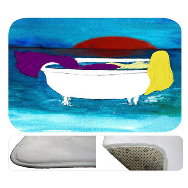 """usa - Blond Bath Tub Mermaid Bath Mat,  20"""" X 15"""" - Bath mats from my original art and designs. Super soft plush fabric with a non skid backing. Eco friendly water base dyes that will not fade or alter the texture of the fabric. Washable 100 % polyester and mold resistant. Great for the bath room or anywhere in the home. At 1/2 inch thick our mats are softer and more plush than the typical comfort mats. Your toes will love you."""