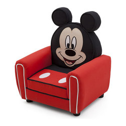 Adarn Inc - Children Red Disney Mickey Mouse Upholstered Accent Club Kids Arm Chair - The Disney Mickey Mouse Upholstered Chair takes cute to a new level. Boasting a sturdy hardwood frame, contrasting piping and a plush upholstered construction, the Delta Disney Mickey Mouse Figural Upholstered Chair is perfect for any Mickey fanatic. It's finished with Mickey's friendly face and die-cut ears that show his iconic silhouette. An adorable addition to any bedroom or playroom, it gives mini Mouseketeers a soft place to land after a long day of play. The Delta Disney Mickey Mouse Upholstered Chair is recommended for children up to 90 pounds, and it meets all JPMA safety requirements.