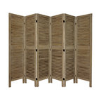 Oriental Furniture - 5 1/2 ft. Tall Classic Venetian Room Divder - Burnt Grey - 6 Panel - This is a traditionally styled louvered panel screen, with open wood slats allowing light and air to pass through. Designed to look equally attractive from front or back, solid wood means an extra durable and substantial, long lasting piece of quality furniture. A solid, inexpensive, attractive room divider; this Classic Venetian is hard to beat for quality and price. Great for defining space, redirecting foot traffic, temporarily hiding a an unsightly area, or blocking light from a window or door.