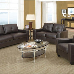 Coaster Modern Brown Leather Sofa Couch Loveseat Arm Chair Living Room - Smart styling wrapped in super-soft bonded leather match. The shapely Jasmine sofa enhances any space with big, plush cushions and slightly flared design that welcomes you with open arms. Also Features a wood frame, attached seat cushions and loose fiber-filled back cushions. Available in White, Black and Dark Brown.