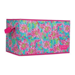 Lilly Pulitzer - Lilly Pulitzer Organizational Bin - Large, Trippin' and Sippin' - Our large-sized Lilly Pulitzer storage bin is a colorful way to store what should not end up on the floor. Organize your dorm room, closetvacation home, kitchen or even your laundry room using one or more of these decorative storage boxes. Large enough to store several rolled towels, these decorative containers are big enough to also store clothing, shoes, toys, magazines, sewing supplies, craft supplies and more. These bins are sturdy, so feel free to load them up.