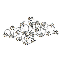 Woodland Imports - Contemporary Wall Sculpture Collage Circles Beads Lic Shades Decor 61539 - Contemporary metal wall sculpture with collage of circles with ceramic bead clusters in metallic shades decor