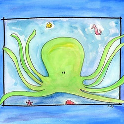 Oh How Cute Kids by Serena Bowman - Octopus, Ready To Hang Canvas Kid's Wall Decor, 16 X 20 - Each kid is unique in his/her own way, so why shouldn't their wall decor be as well! With our extensive selection of canvas wall art for kids, from princesses to spaceships, from cowboys to traveling girls, we'll help you find that perfect piece for your special one.  Or you can fill the entire room with our imaginative art; every canvas is part of a coordinated series, an easy way to provide a complete and unified look for any room.
