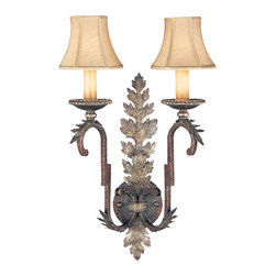 Fine Art Lamps - Stile Bellagio Sconce, 115950ST - Graceful curves and fronds of silvered foliage make this wall sconce a delightful addition to your home. It's fashioned from tortoised leather with a crackle finish and topped by a pair of hand-sewn silk shantung shades.
