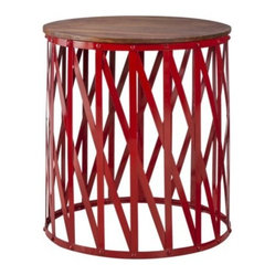 Threshold Mixed Material Accent Table, Wood and Metal