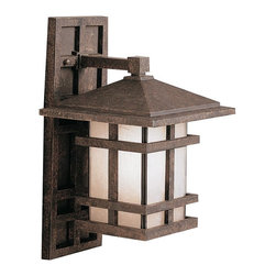 KICHLER - KICHLER 9130AGZ Cross Creek Arts and Crafts/Mission Outdoor Wall Sconce - With rustic charm as unique as its design, The Cross Creek Collection puts a modern spin on a classic fixture. Each piece is constructed from long lasting cast aluminum ensuring a quality fit and finish that will last for ages. Our Aged Bronze finish adds a distressed appearance to the piece, while Textured linen seedy glass panels additional warmth make the Cross Creek Collection the perfect balance of ambiance, style, and value. This one light wall lantern from the Cross Creek Collection uses a 150-watt (max.) bulb and is U.L. listed for wet location. It comes with removable backplate.