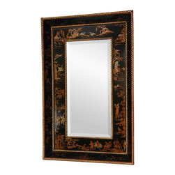 Oriental Furniture - Black Lacquer Mirror - This Oriental mirror features an extra-wide beveled wood frame finished in an antiqued, multi-coat black lacquer. The hand-painted details were inspired by Marco Polo's description of the Silk Road.