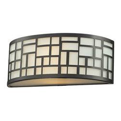 Z-Lite - Z-Lite 329-1S-BRZ Elea 1 Light Wall Sconces in Bronze - The Elea family boasts a geometric pattern that combines pure white matte opal glass with a rich bonze finish delivering a fascinating contemporary design.
