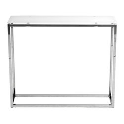 Euro Style - Sandor Console Table - Pure White Glass/Chrome - The proportions of these three tables (coffee, side and console) are iconic to say the least.  Tops in clear or pure white glass float on perfectly geometric chrome steel bases.  We're talking Museum of Modern art here.  Not really.  But it's the right thing to do.