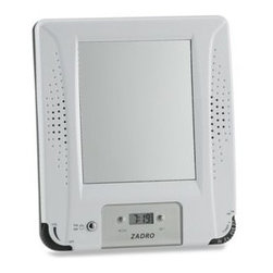 Zadro - AM/FM Shower Radio with Fog Free Mirror and Digital Clock - Shower in style while you listen to the radio with this water resistant AM/FM stereo shower radio. Radio produces great sound and features both a digital clock and fog free mirror.