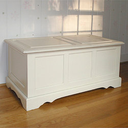 None - Ant. Ivory Devonshire Blanket Chest - Used at the foot of the bed,for linens or as a coffee table with hidden storage,this classic blanket chest adds weight and character to your room.