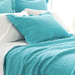 Pine Cone Hill - scramble matelasse sham (aqua) - Make a statement with intricately stitched branches that twine over this soft cotton matelasse sham featuring envelope back closure and 2-in. flange.��This item comes in��aqua.��This item size is��euro or std.