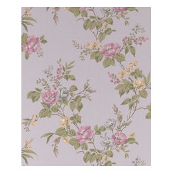 Graham and Brown - Cottage Garden Wallpaper - Silver/Heather/Yellow - Cottage Garden wallpaper - beautiful climbing roses adorn this amazing floral wallpaper that will look fantastic on any wall.