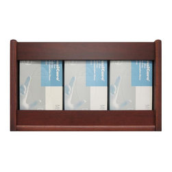 Wooden Mallet - Triple Opening Oak Dispenser for Tissue Box o - Finish: Medium OakPerfect for medical offices, salons and other environments where disposable gloves and tissues are necessary, this oak dispenser features three pockets for items, and is designed to fit almost any brand glove box and standard tissues boxes. The piece is available in your choice of finish options, with other sizes available separately. Accommodates almost all brands and sizes of gloves and work well for standard facial tissue boxes. Comes with small, medium, large and extra-large stick-on labels which customers may attach if they choose. Pre-drilled with hardware included for simple wall mounting. Constructed of solid oak sides with laminate front panels. Pictured in Dark Red Mahogany. No assembly required. 4.5 in. D x 17.625 in. W x 11 in. H (6 lbs.)Wooden Mallet's oak glove or tissue box holders are an attractive way to hide unsightly boxes.