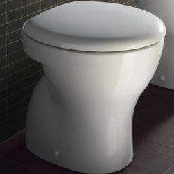 GSI - Round White Ceramic Floor Toilet with Seat and Cover - Add this high quality, contemporary toilet to your already modern personal bathroom. Made in quality ceramic and available in white. This floor toilet is designed and built in Italy by GSI and is from the GSI City collection. Floor toilet. Seat included. Actuator and tank must be purchased separately. Water-saving. 1.2 GPF (Gallons Per Flush). Waste water has floor outlet. Made of white ceramic. Made in Italy.