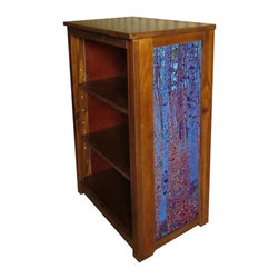 Kelseys Collection - Book cabinet 3 shelf Beech Forest by Klimt - Book cabinet in solid radiata pine features three adjustable  storage shelves with two giclee prints on the side panels, showcasing Gustav Klimts artwork. The giclee print have three coats of UV inhibitor.   Dimensions are 33BY22BY12 Net weight 20 pounds. Three adjustable shelves. Estimated assembly time 20 minutes.