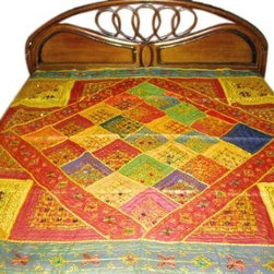 Decorative Bedspreads - Perfect mirror embroidered bedspread/Bed sheet for your Indian style home decor. An traditional bedspread is an ideal for adding different modern and ethnic decor touch to your interior.