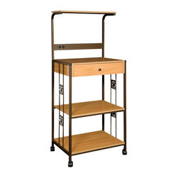 Home Source - Home Source Microwave Cart - R-0018C - Shop for Carts from Hayneedle.com! The Home Source Microwave Cart - Beech features a durable and sturdy addition to your kitchen with its metal and wood construction. Scoring high on its utility aspect this microwave cart not only accommodates your microwave comfortably but also offers ample storage space. It also features two electrical outlets for neat wire organization. Two open shelves and one drawer offer both concealed and open storage options. Offering ultimate convenience for a space-conscious kitchen is its wheels that aid portability.