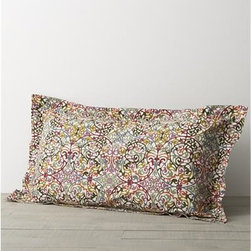 """Lucia King Pillow Sham - A traditional arabesque pattern scrolls contemporary in a colorful palette of plum, sage green, slate blue, pumpkin and gold on ivory. Printed on cotton by an Italian textile house renowned for its richly colored designs that maintain their brilliance over time. Reversible duvet has tailored button closure. Matching pillow sham has a generous 2"""" flange and back flap closure. Duvet inserts and bed pillows also available."""