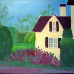 House On The Road (Original) By Sally Slifkin - Just a simple everyday house, one that you wouldn't even notice, painted in vibrant colors with lush shrubbery and landscaping surrounding.