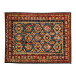 1800-Get-A-Rug - Geometric Design Hand Knotted 100% Wool Super Kazak Oriental Rug Sh16502 - Our Tribal & Geometric hand knotted rug collection, consists of classic rugs woven with geometric patterns based on traditional tribal motifs. You will find Kazak rugs and flat-woven Kilims with centuries-old classic Turkish, Persian, Caucasian and Armenian patterns. The collection also includes the antique, finely-woven Serapi Heriz, the Mamluk Afghan, and the traditional village Persian rug.