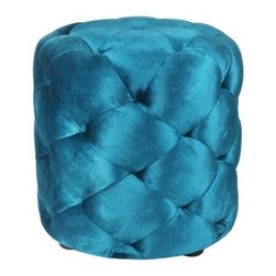 Blissliving Home - Le Pouf Cotton Ottoman - Features: -Spot clean.-Deep tufted cotton velvet pouf.-Collection: Home Decor.-Style: Modern.-Upholstery Color (Color: Petrol Teal): Petrol Teal.-Upholstery Color (Color: Persimmon): Persimmon.-Pattern: Solid.-Distressed: No.-Upholstery Material: Cotton Velvet.-Frame Material: Fiberboard.-Solid Wood Construction: No.-Number of Items Included: 1.-Non-Toxic: No.-Fire Resistant: No.-Scratch Resistant: No.-Stain Resistant: No.-Water Resistant: No.-Shape: Round.-Corner Block: No.-Cushion or Upholstery Fill Material: Foam (Polyethylene).-Seating Comfort: Firm.-Coils or Springs: No.-Removable Cushion: No.-Removable Upholstery Cover: No.-Tufted Cushion: Yes.-Welt On Cushions: Yes.-Slipcovered: No.-Skirted: No.-Pouf: No.-Legs Included: Yes -Removable Legs: No.-Leg Material: Plastic..-Casters: No.-Glider: No.-Tray Top: No.-Storage Available: No.-Nested Stools: No.-Collapsible: No.-Pull Out Bed: No.-Suitable As Seating: Yes.-Outdoor Use: No.-Swatch Available: No.-Recycled Content: No.-Eco-Friendly: No.Specifications: -FSC Certified: No.-ISTA 3A Certified: No.-Green Guard Certified: No.Dimensions: -Overall Height - Top to Bottom: 17.5.-Overall Width - Side to Side: 17.5.-Legs: -Leg Height- Top to Bottom: 1..Assembly: -Assembly Required: No.-Additional Parts Required: No.