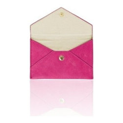 Russell + Hazel - Business Card Holder, Pink by Russell + Hazel - Ideal for business cards and credit cards, this stylish and functional mini leather envelope comes complete with a complimentary cotton twill lining. Snap enclosure keeps your belongings safe.