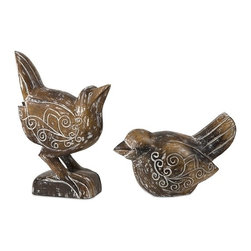 "IMAX CORPORATION - Baruti Wood Carved Birds - Set of 2 - Baruti Wood Carved Birds - Set of 2.  Set of 2 sculptures measuring 5.75""H x 4.25""W x 10""L and 11""H x 3.5""W x 8""L each. Find home furnishings, decor, and accessories from Posh Urban Furnishings. Beautiful, stylish furniture and decor that will brighten your home instantly. Shop modern, traditional, vintage, and world designs."