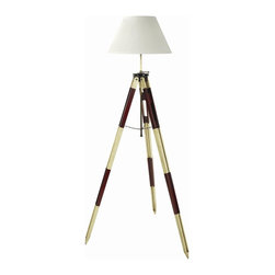 Authentic Models - Tripod Floor Lamps - Enhance your home, office or bar with our lovely Authentic Models tripod lamp. Choose from red and white or black and ivory to blend into your home decor. This lamp fits perfectly in both classic and modern interiors. Made of wood legs, brass hardware and hand painted in red or black accents. Dimensions: 29.1 x 29.1 x 50.2''.