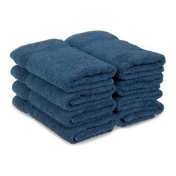 Superior Egyptian Cotton 8-Piece Sapphire Hand Towel Set - Superior Egyptian Cotton 8pc Sapphire Hand Towel Set