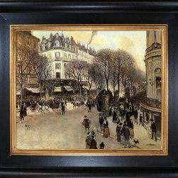 """overstockArt.com - Raffaelli - Boulevard des Italiens Oil Painting - 20"""" x 24"""" Oil Painting On Canvas Hand painted oil reproduction of famous painting, Boulevard des Italiens , by Jean Francois Raffaelli. Today it has been carefully recreated detail-by-detail, color-by-color to near perfection. Jean Francois Raffaelli (180-1924) was a French realist painter, who exhibited with Impressionist artists. Raffaelli produced primarily costume pictures until 1876, when he began to depict the people of his time--particularly peasants, workers, and rag pickers seen in the suburbs of Paris--in a realistic style. His new work was championed by influential critics such as J.-K. Huysmans, as well as by Edgar Degas."""