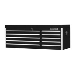 Extreme Tools - Steel 10-Drawer Professional Tool Chest w Gas Lift Lid - Made of Steel. 20 in. cabinet depth. Two (2) gas lifts to support the top lid. Heavy steel construction. High gloss powder coat finish. Drawers with ball bearing glides. 100 lbs. rating per drawer. Theft proof lock system. Black finish. Some assembly required. 56 in. W x 20 in. L x 21 in. H (181 lbs.)